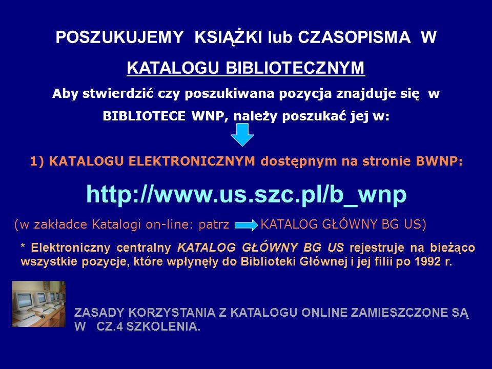 POSZUKUJEMY KSIĄŻKI lub CZASOPISMA W KATALOGU BIBLIOTECZNYM