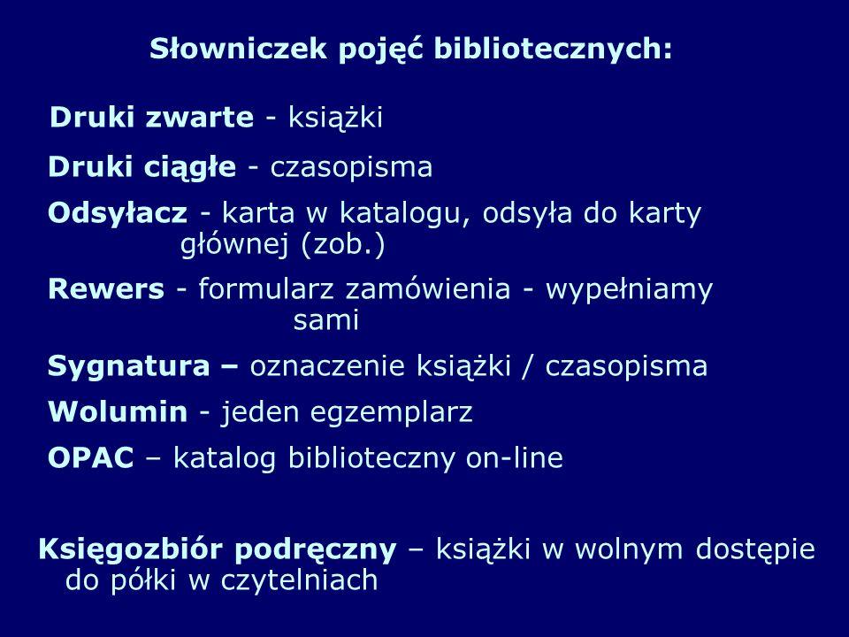 Słowniczek pojęć bibliotecznych: