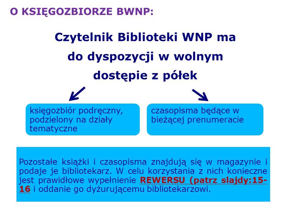 Czytelnik Biblioteki WNP ma do dyspozycji w wolnym dostępie z półek