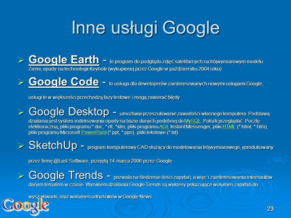 Inne usługi Google