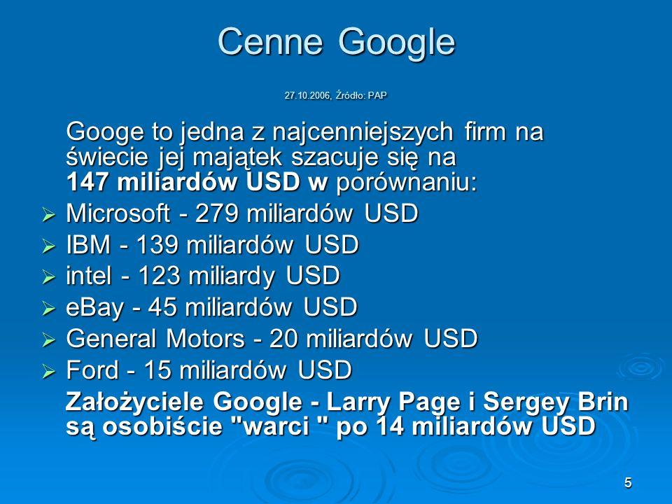 Cenne Google 27.10.2006, Źródło: PAP