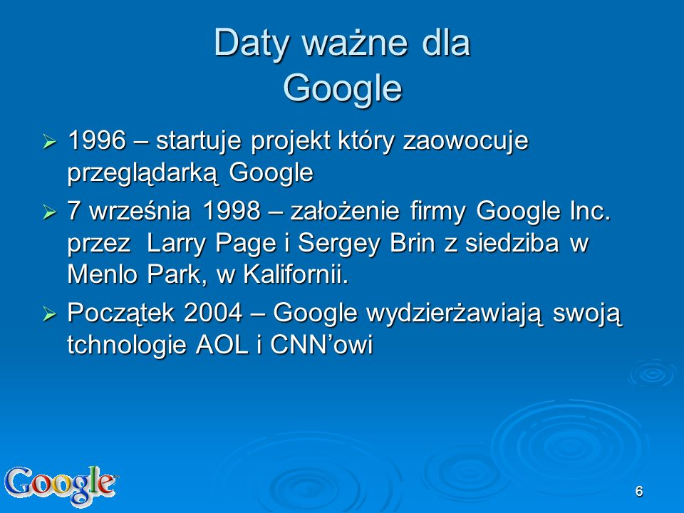 Daty ważne dla Google1996 – startuje projekt który zaowocuje przeglądarką Google.