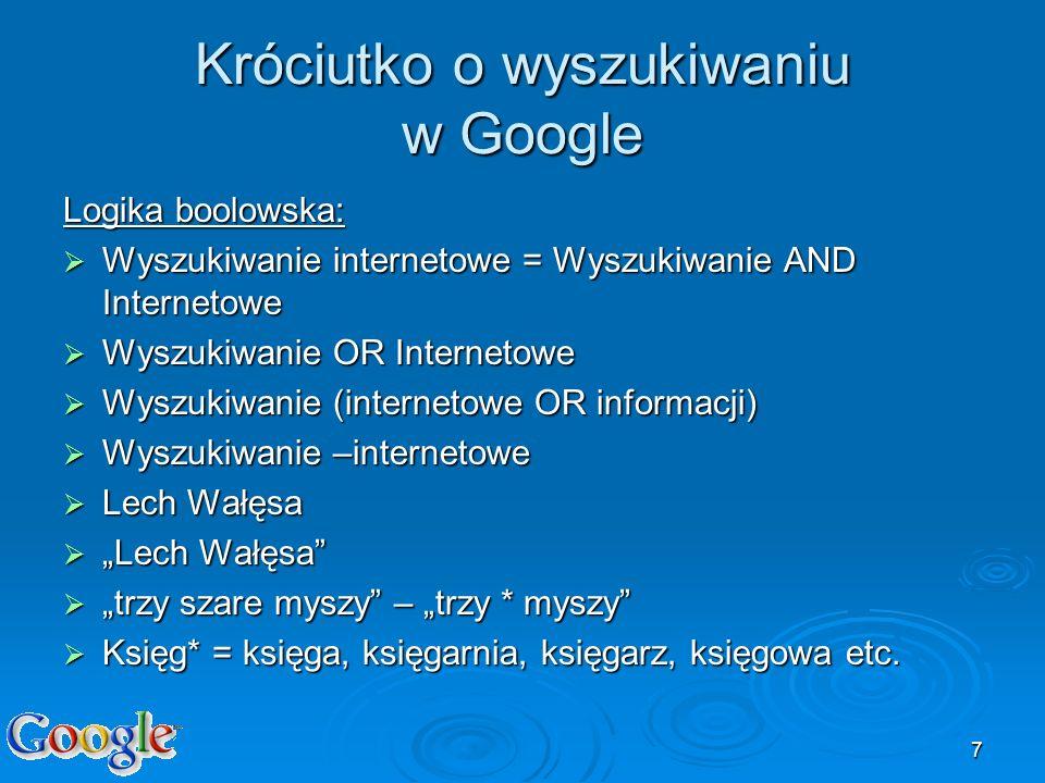 Króciutko o wyszukiwaniu w Google