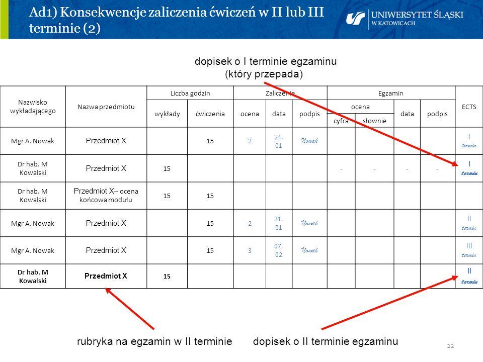 Ad1) Konsekwencje zaliczenia ćwiczeń w II lub III terminie (2)
