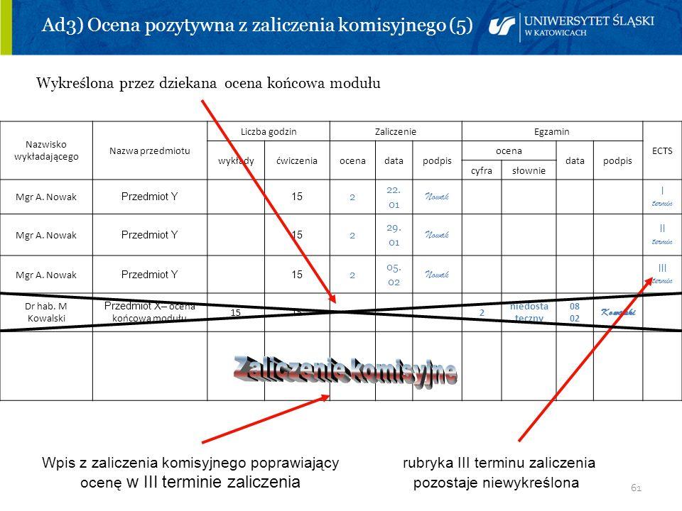 Ad3) Ocena pozytywna z zaliczenia komisyjnego (5)