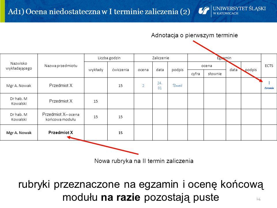 Ad1) Ocena niedostateczna w I terminie zaliczenia (2)