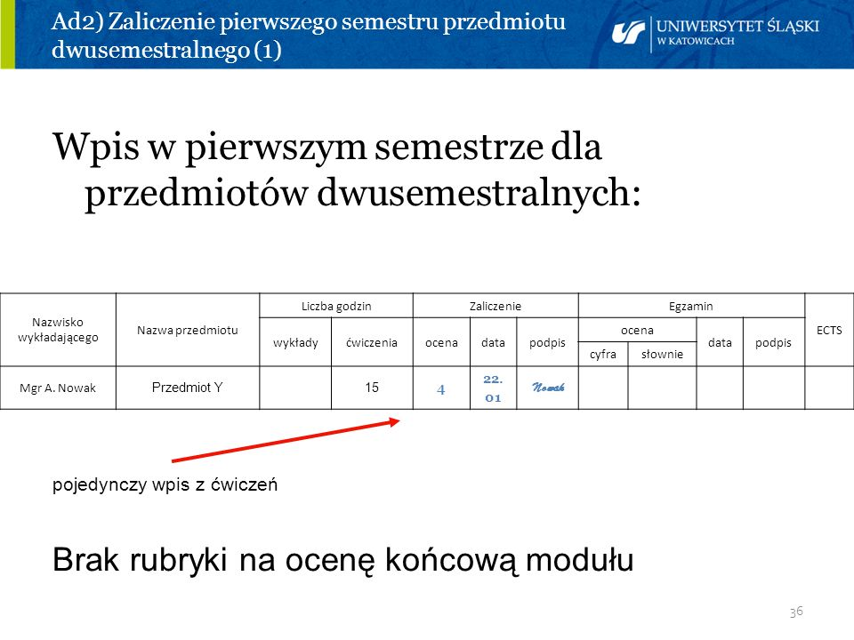 Ad2) Zaliczenie pierwszego semestru przedmiotu dwusemestralnego (1)