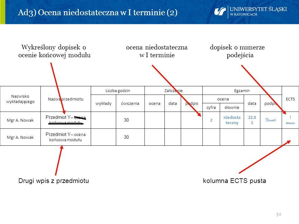 Ad3) Ocena niedostateczna w I terminie (2)