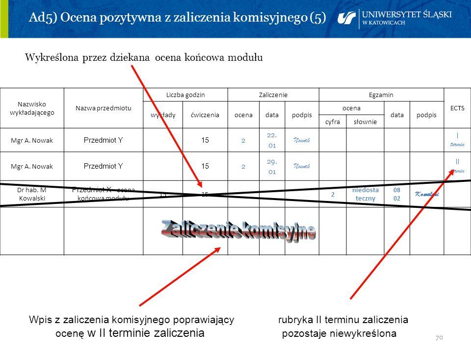 Ad5) Ocena pozytywna z zaliczenia komisyjnego (5)