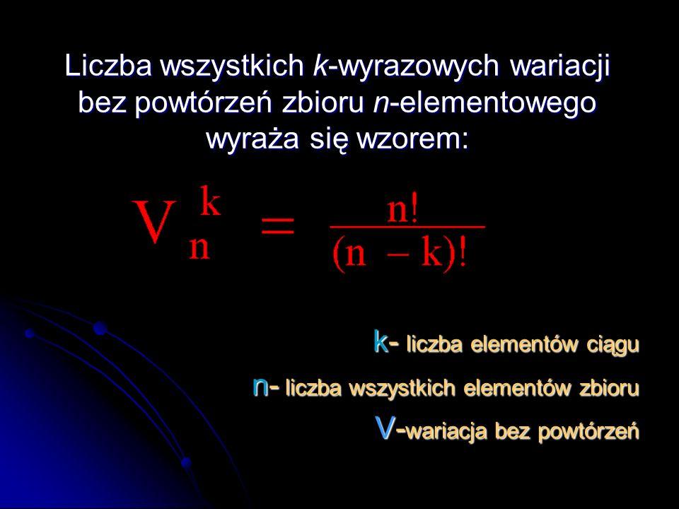 Liczba wszystkich k-wyrazowych wariacji bez powtórzeń zbioru n-elementowego wyraża się wzorem: