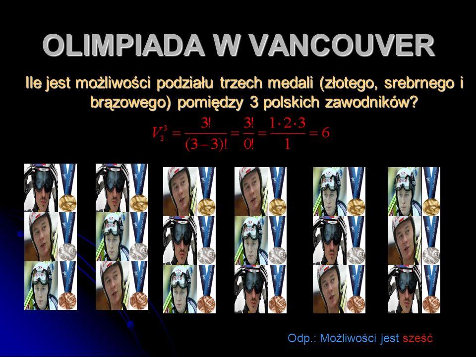 OLIMPIADA W VANCOUVER Ile jest możliwości podziału trzech medali (złotego, srebrnego i brązowego) pomiędzy 3 polskich zawodników