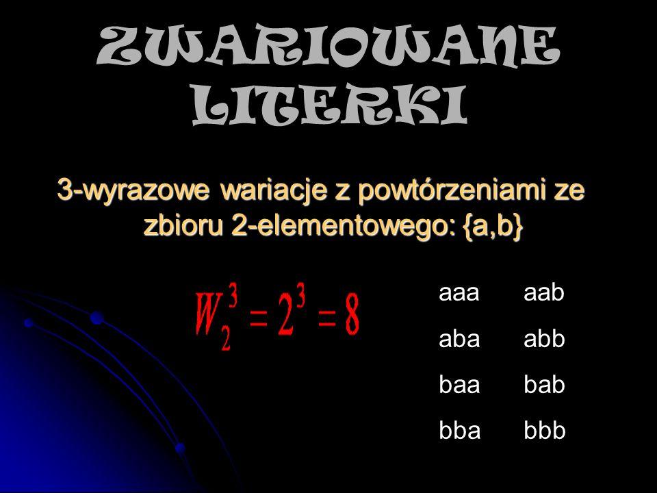 3-wyrazowe wariacje z powtórzeniami ze zbioru 2-elementowego: {a,b}
