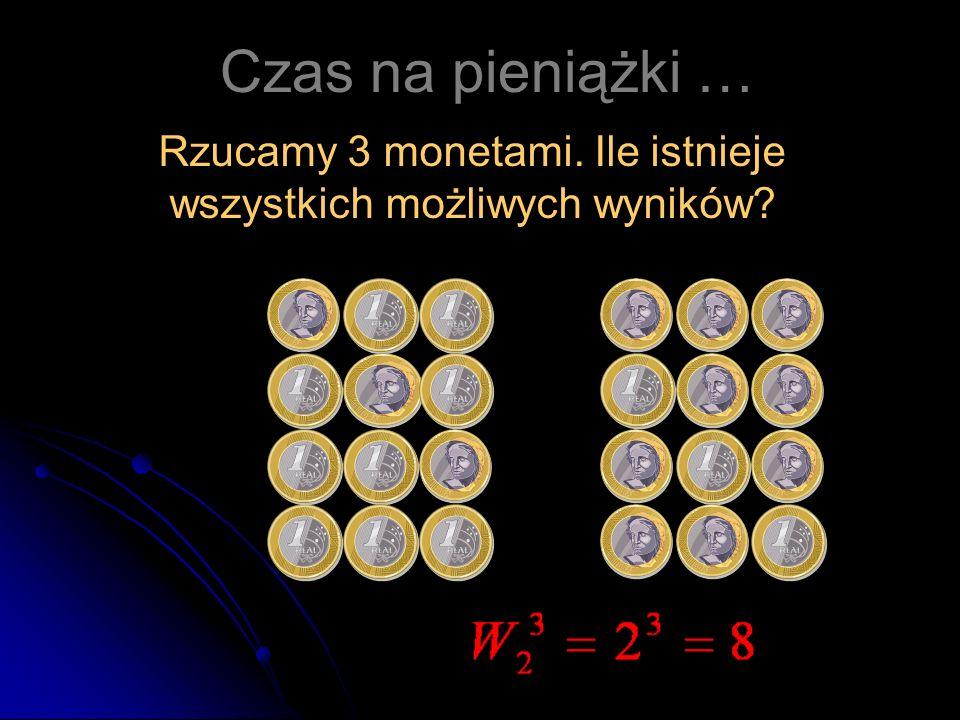 Rzucamy 3 monetami. Ile istnieje wszystkich możliwych wyników