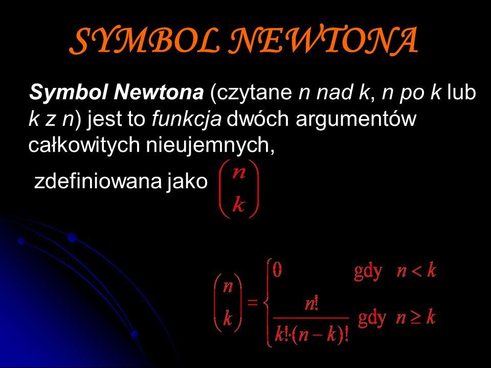 SYMBOL NEWTONA Symbol Newtona (czytane n nad k, n po k lub k z n) jest to funkcja dwóch argumentów całkowitych nieujemnych,