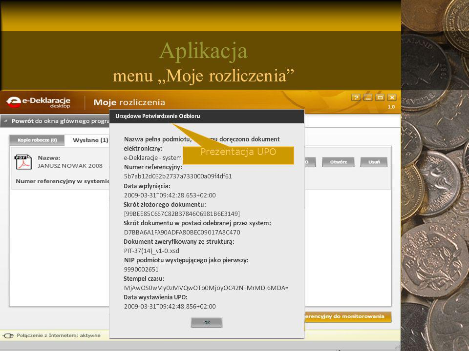 """Aplikacja menu """"Moje rozliczenia"""