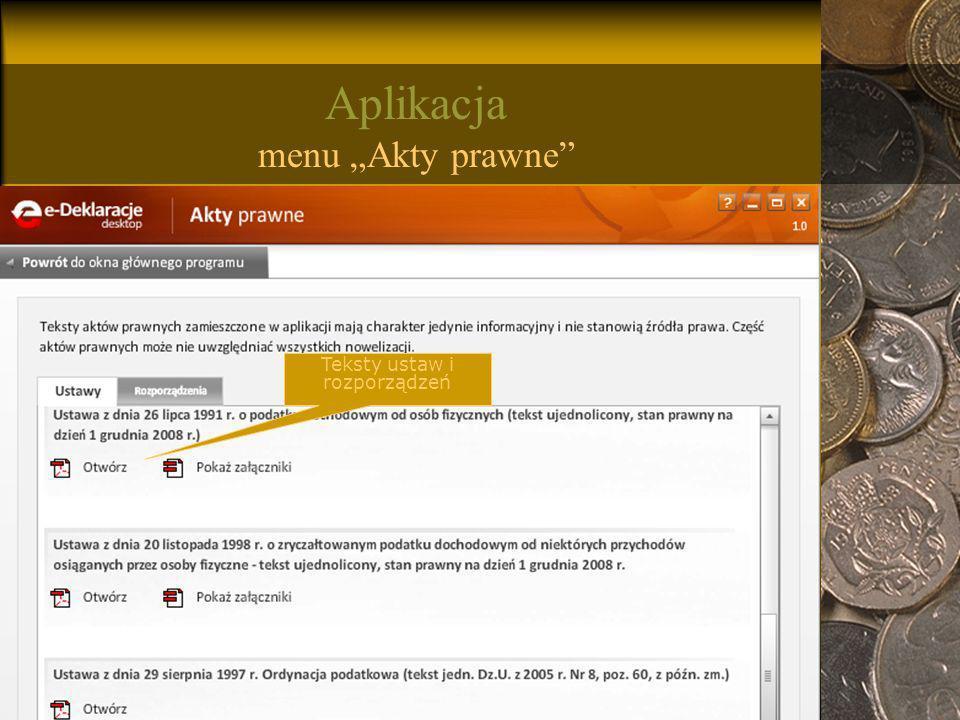 """Aplikacja menu """"Akty prawne"""