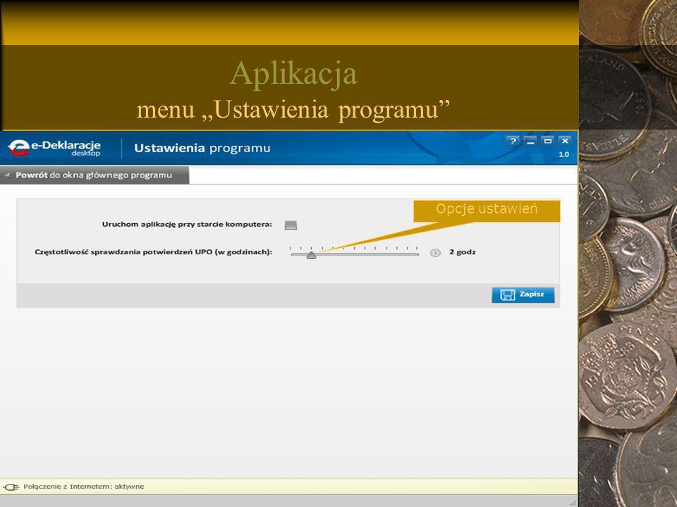 """Aplikacja menu """"Ustawienia programu"""