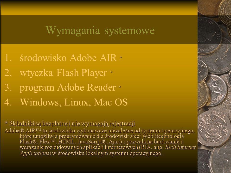 Wymagania systemowe środowisko Adobe AIR * wtyczka Flash Player *