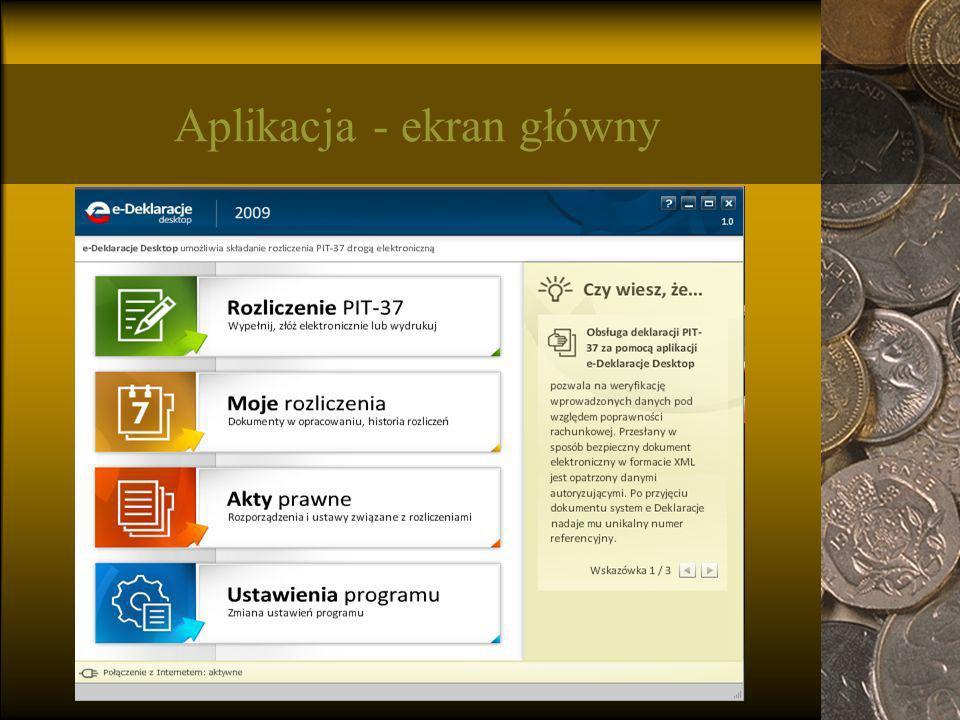 Aplikacja - ekran główny