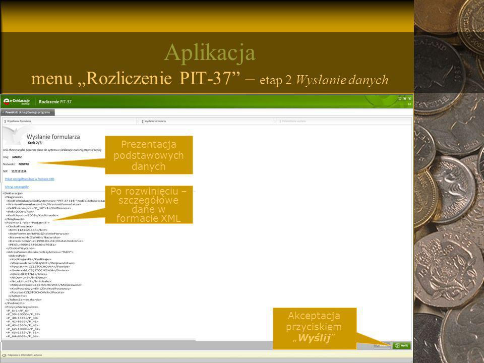 """Aplikacja menu """"Rozliczenie PIT-37 – etap 2 Wysłanie danych"""
