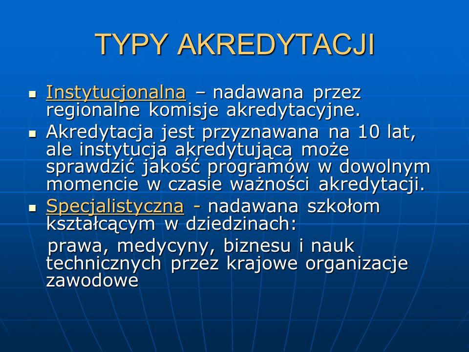 TYPY AKREDYTACJI Instytucjonalna – nadawana przez regionalne komisje akredytacyjne.