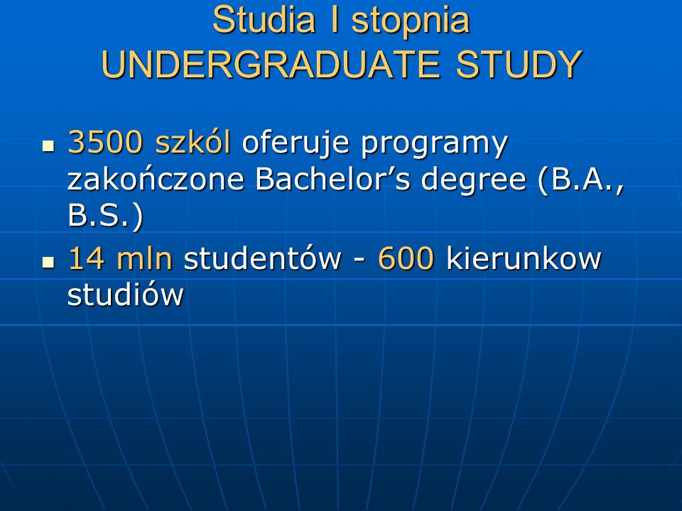 Studia I stopnia UNDERGRADUATE STUDY