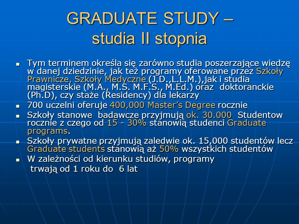 GRADUATE STUDY – studia II stopnia