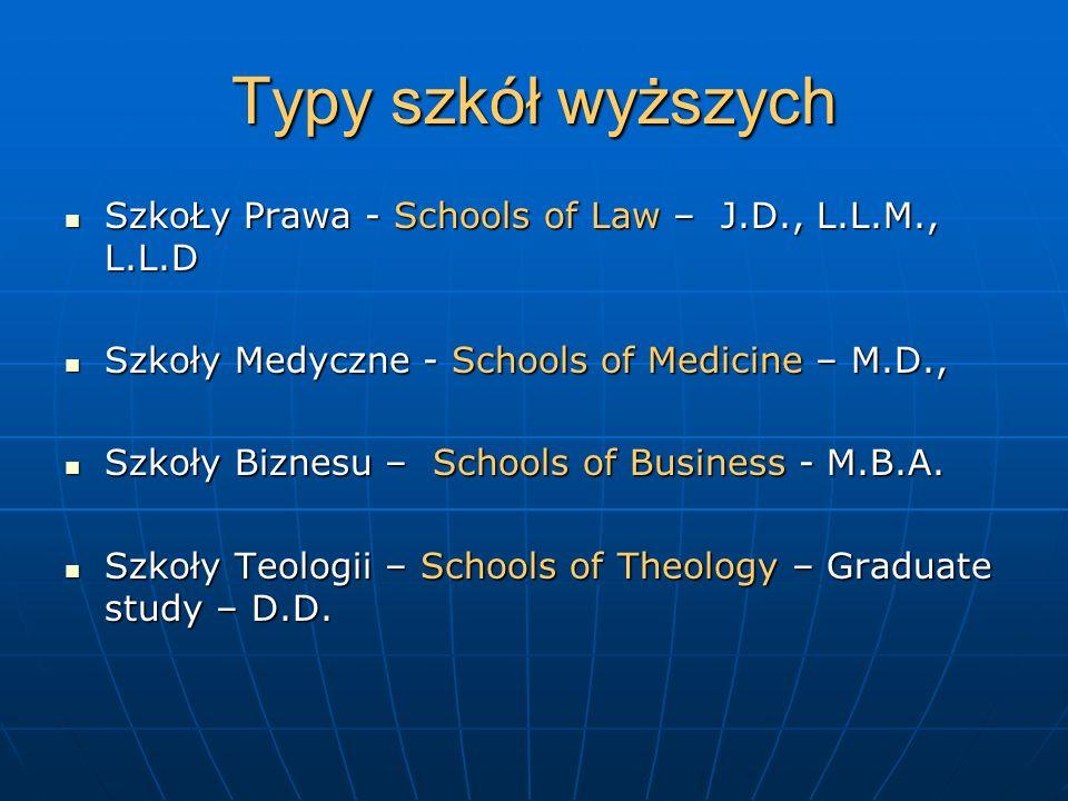 Typy szkół wyższych SzkoŁy Prawa - Schools of Law – J.D., L.L.M., L.L.D. Szkoły Medyczne - Schools of Medicine – M.D.,