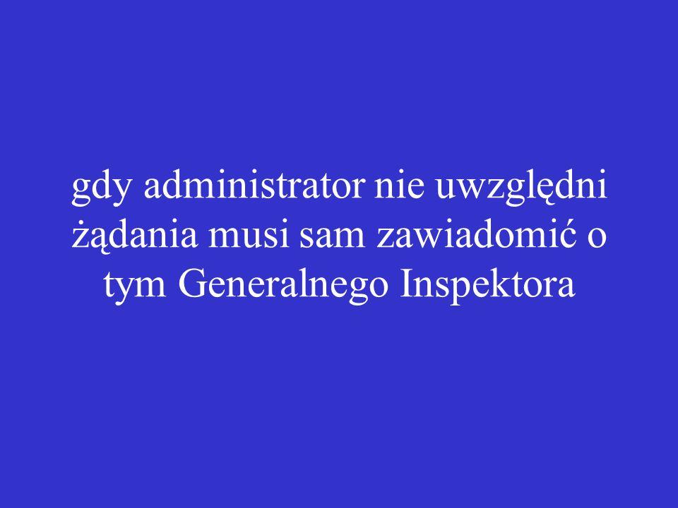 gdy administrator nie uwzględni żądania musi sam zawiadomić o tym Generalnego Inspektora