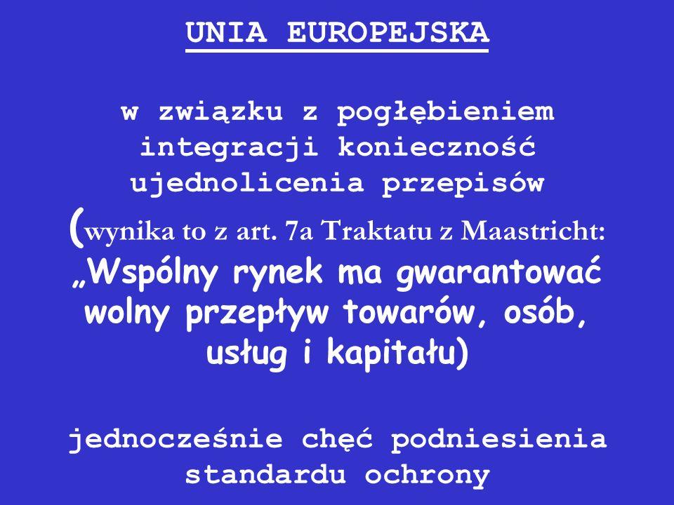 UNIA EUROPEJSKA w związku z pogłębieniem integracji konieczność ujednolicenia przepisów (wynika to z art.