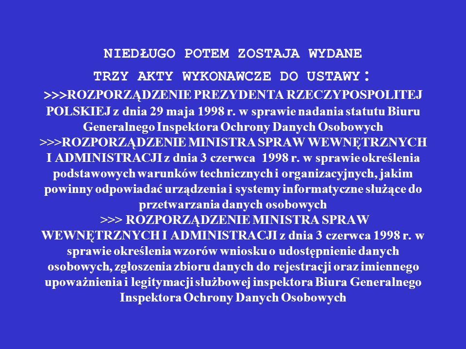 NIEDŁUGO POTEM ZOSTAJA WYDANE TRZY AKTY WYKONAWCZE DO USTAWY: >>>ROZPORZĄDZENIE PREZYDENTA RZECZYPOSPOLITEJ POLSKIEJ z dnia 29 maja 1998 r.