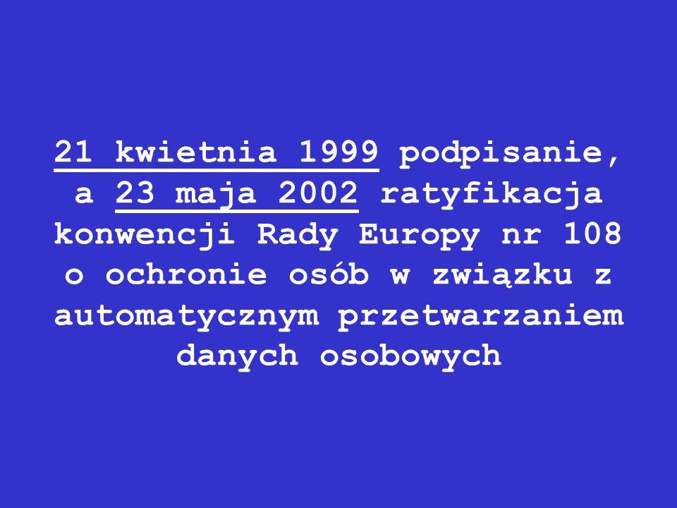 21 kwietnia 1999 podpisanie, a 23 maja 2002 ratyfikacja konwencji Rady Europy nr 108 o ochronie osób w związku z automatycznym przetwarzaniem danych osobowych