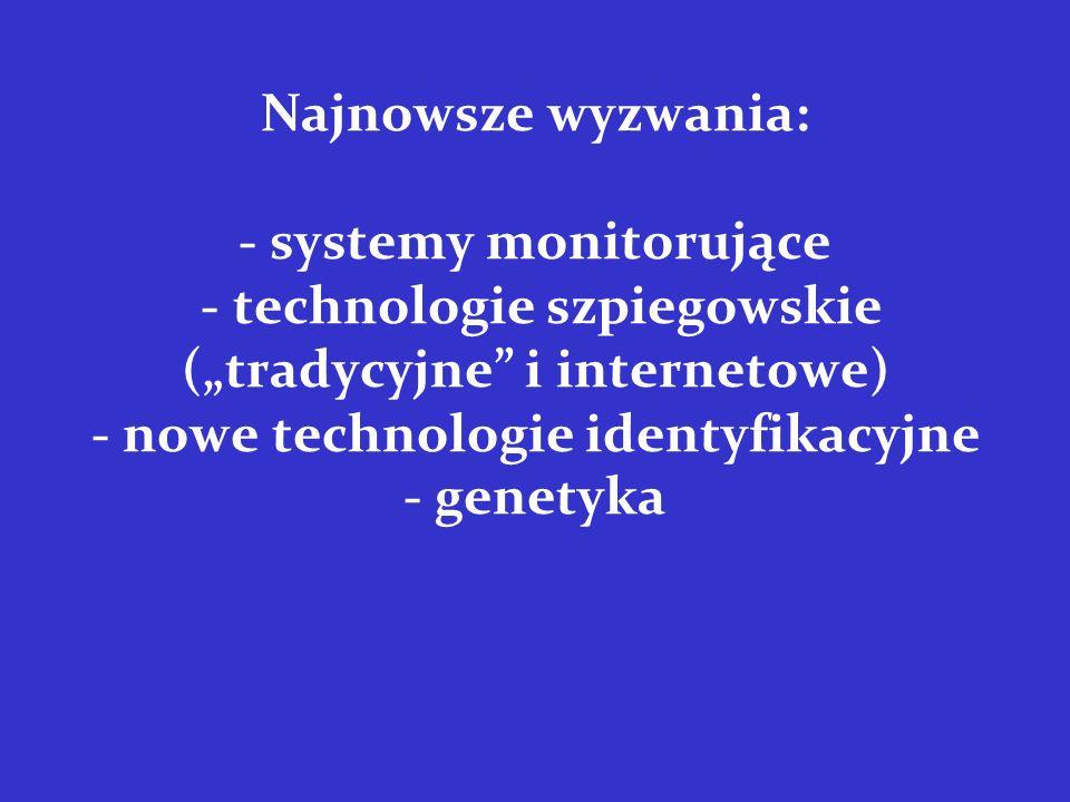 """Najnowsze wyzwania: - systemy monitorujące - technologie szpiegowskie (""""tradycyjne i internetowe) - nowe technologie identyfikacyjne - genetyka"""
