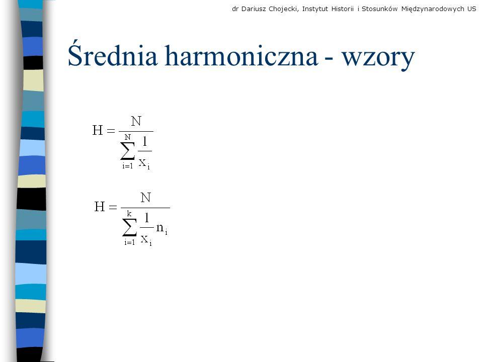 Średnia harmoniczna - wzory