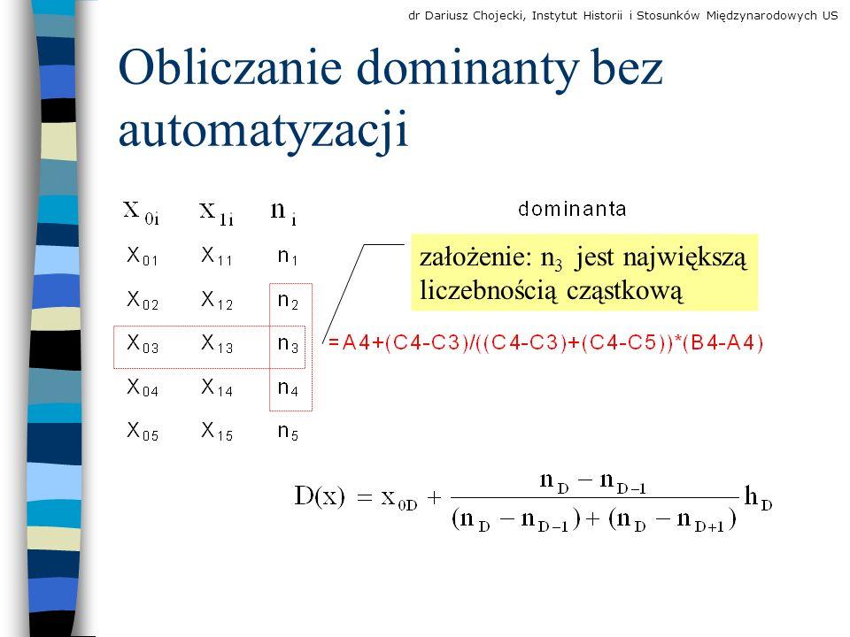 Obliczanie dominanty bez automatyzacji