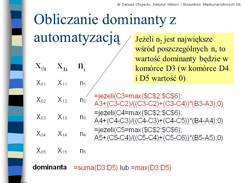 Obliczanie dominanty z automatyzacją