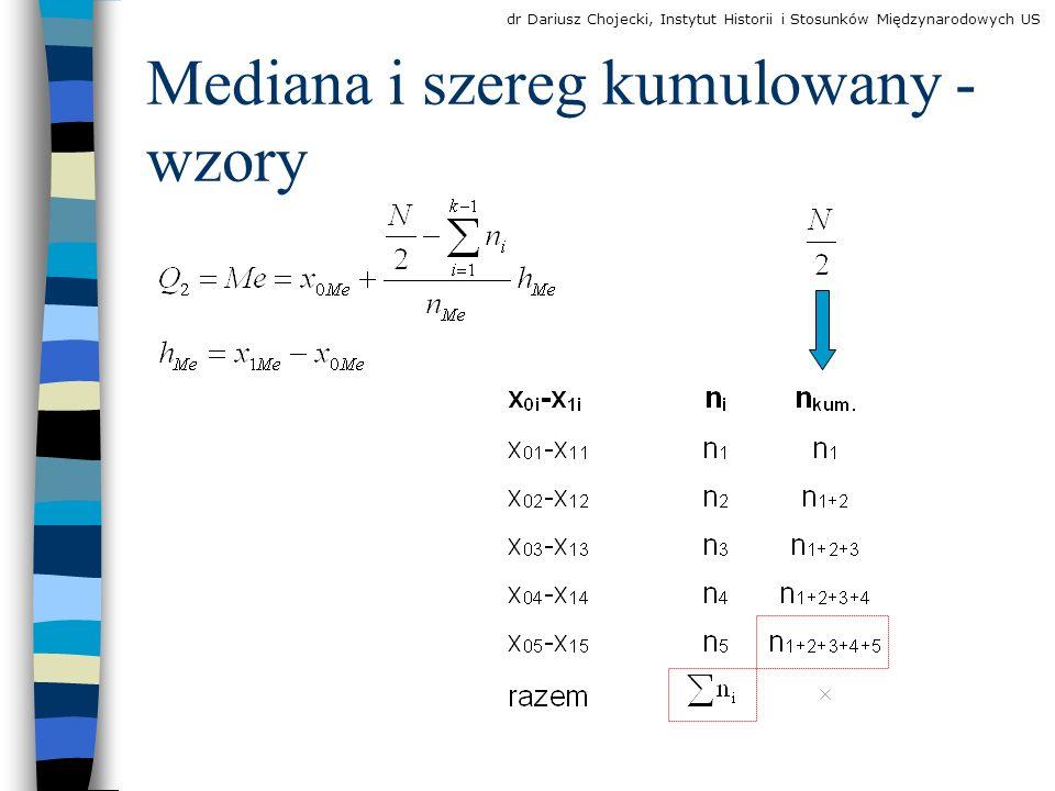 Mediana i szereg kumulowany - wzory