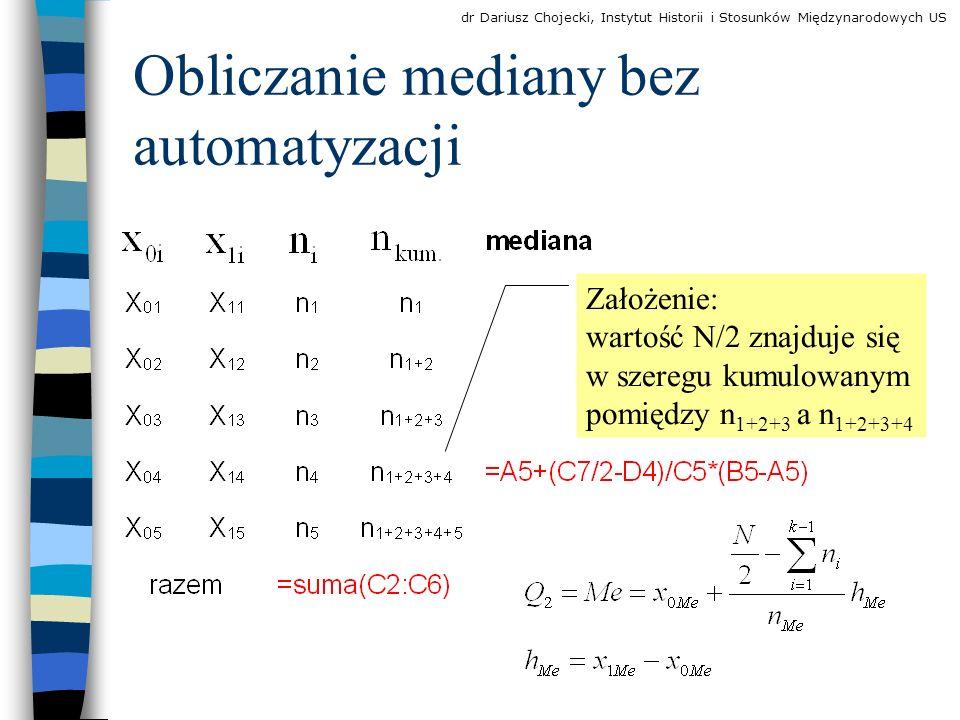 Obliczanie mediany bez automatyzacji