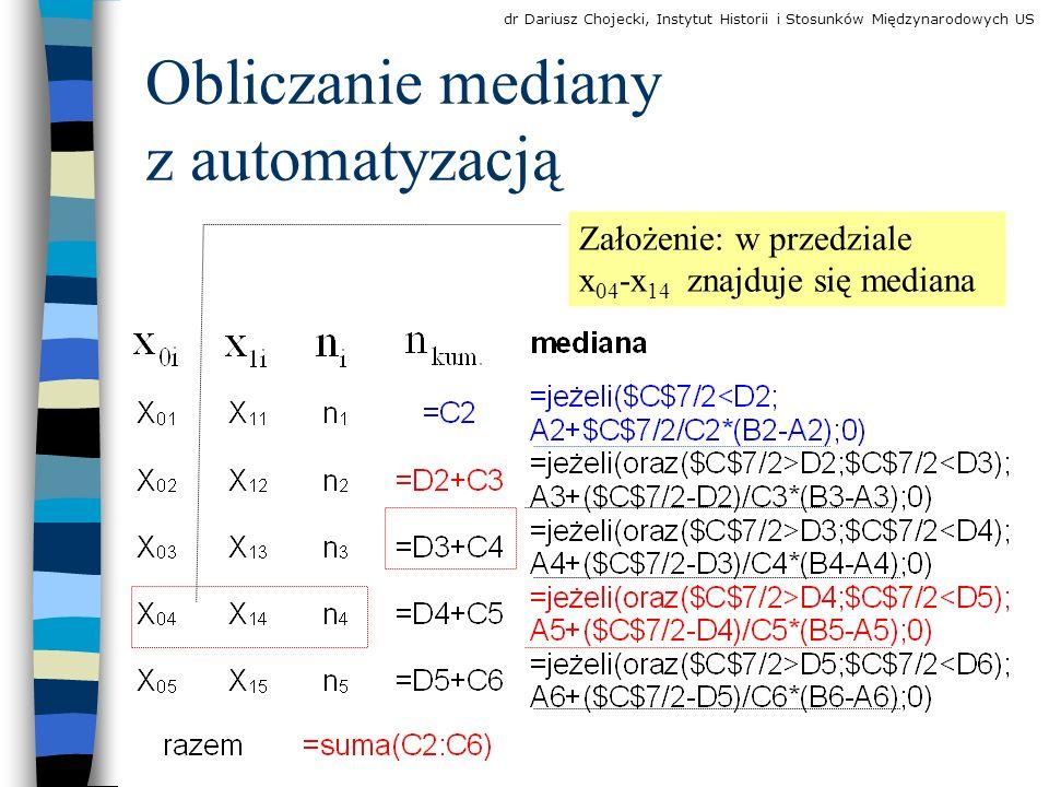 Obliczanie mediany z automatyzacją