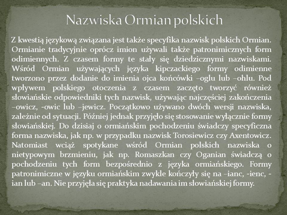 Nazwiska Ormian polskich