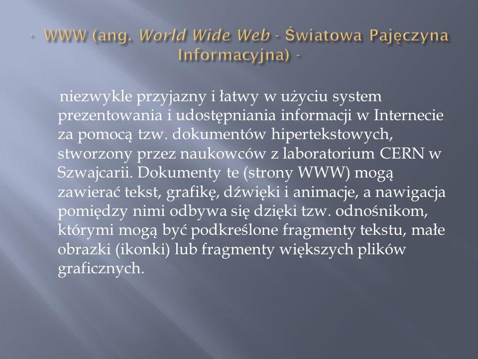 · WWW (ang. World Wide Web - Światowa Pajęczyna Informacyjna) -