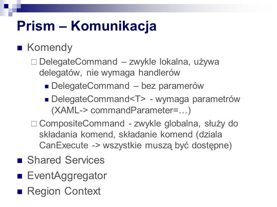 Prism – Komunikacja Komendy Shared Services EventAggregator