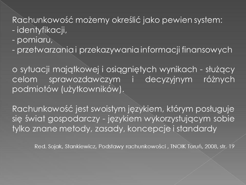 Rachunkowość możemy określić jako pewien system: - identyfikacji,