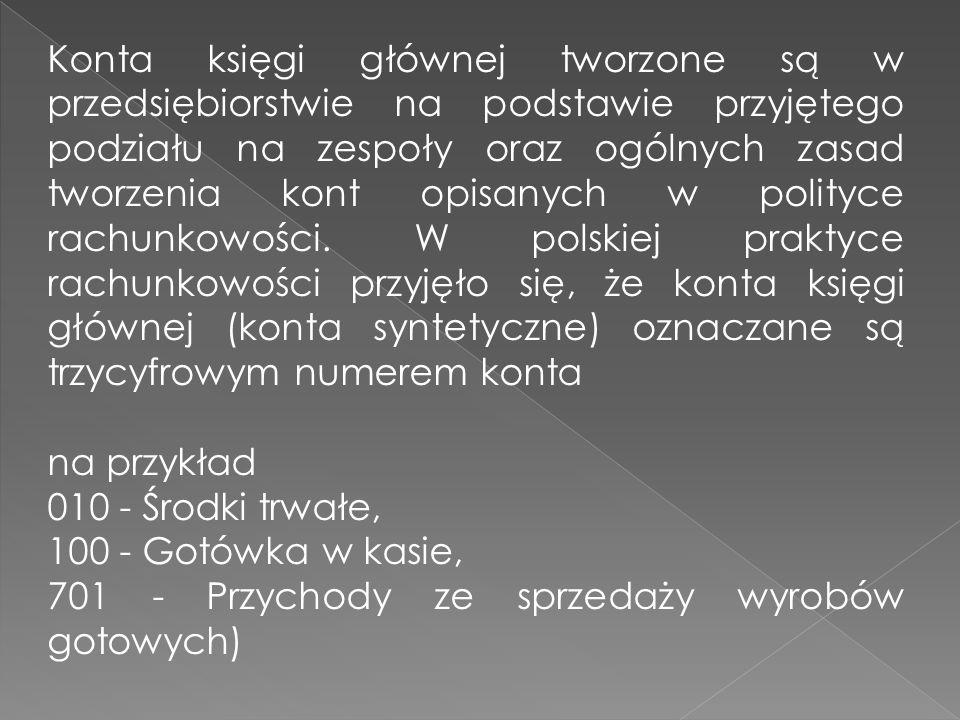 Konta księgi głównej tworzone są w przedsiębiorstwie na podstawie przyjętego podziału na zespoły oraz ogólnych zasad tworzenia kont opisanych w polityce rachunkowości. W polskiej praktyce rachunkowości przyjęło się, że konta księgi głównej (konta syntetyczne) oznaczane są trzycyfrowym numerem konta