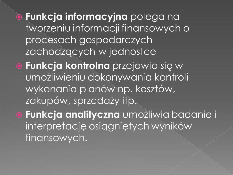Funkcja informacyjna polega na tworzeniu informacji finansowych o procesach gospodarczych zachodzących w jednostce