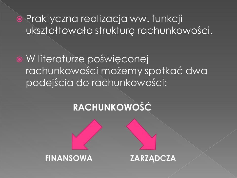 Praktyczna realizacja ww. funkcji ukształtowała strukturę rachunkowości.