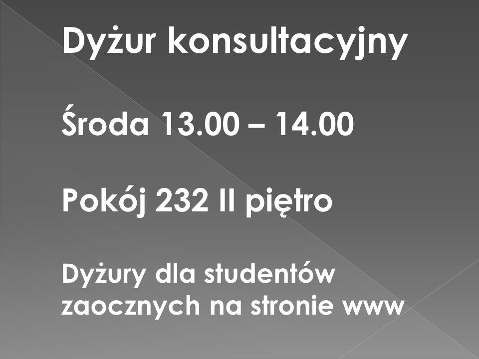 Dyżur konsultacyjny Środa 13.00 – 14.00 Pokój 232 II piętro
