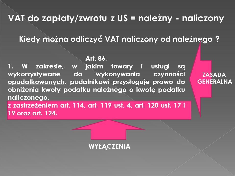 VAT do zapłaty/zwrotu z US = należny - naliczony