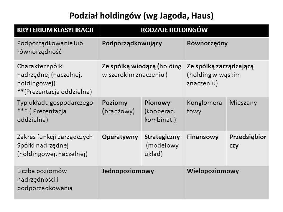Podział holdingów (wg Jagoda, Haus)