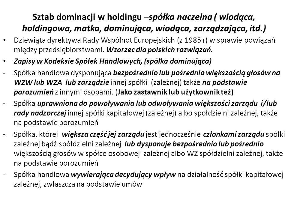 Sztab dominacji w holdingu –spółka naczelna ( wiodąca, holdingowa, matka, dominująca, wiodąca, zarządzająca, itd.)